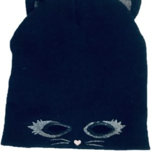 Black Cat Beanie Hollow Eyes With Ears Adult Hat